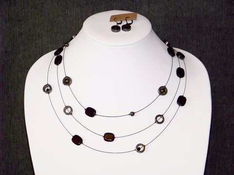 Black Multi Strand Necklace w/ Earrings