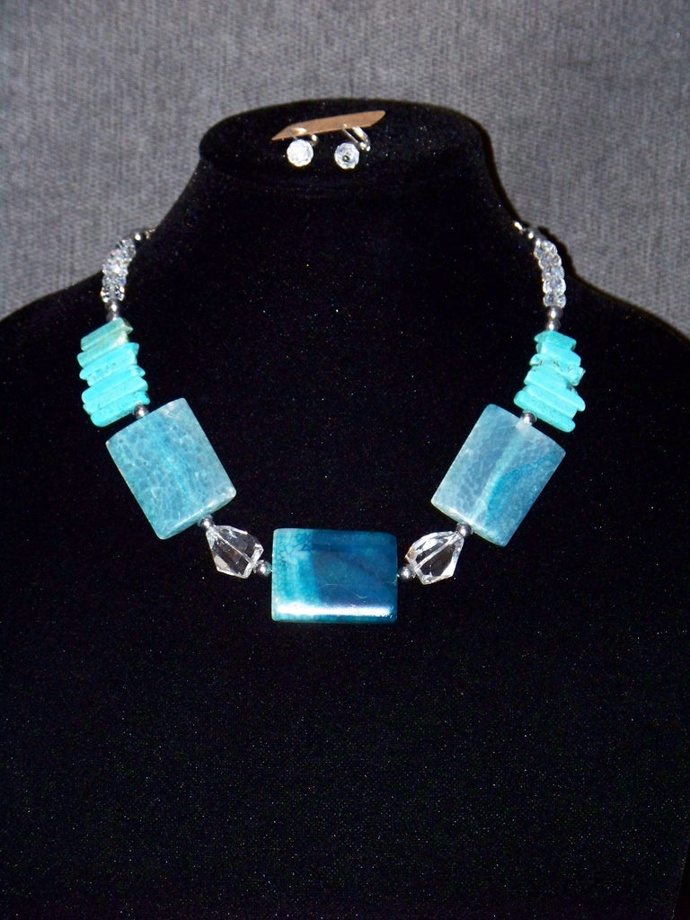 Blue Rectangle Agate Necklace w/ Earrings