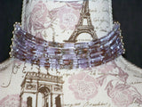 Vintage Lt. Purple & Copper Choker w/ Earrings