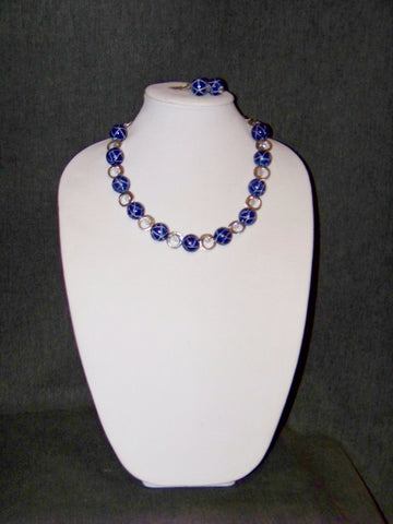 Blue & White Ceramic Necklace w/ Earrings