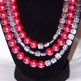 Raspberry & Silver Glass w/ Antique Silver Necklace
