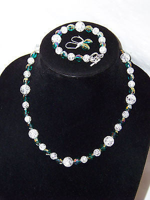 Green Tear Drop Crystal w/ Clear Crackle Necklace Set