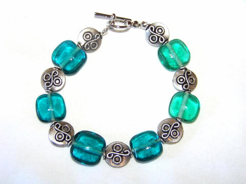 Sea Squares w/ Tibet Silver Spacers Bracelet