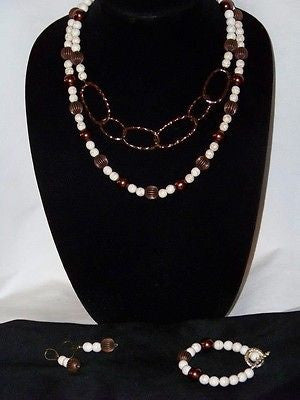 White & Bronze Howlite Necklace Set