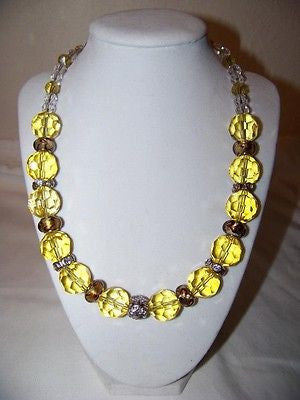 Lt. Gold Crystal w/Clear Crystal Necklace