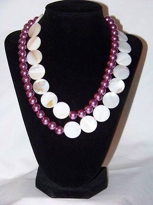 Natural Shell w/ Purple Glass Necklace