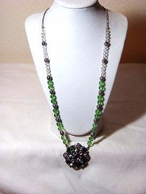 Peridot w/ Vintage Tibet Jeweled Pendant Necklace