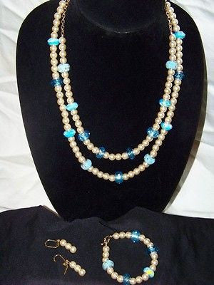 Bronze Glass Pearls w/ Millefiori Crystal Necklace Set