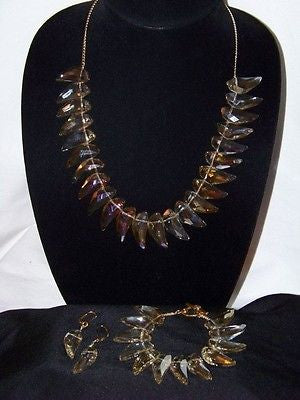 Chinese Champagne Crystal Necklace Set