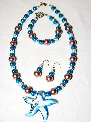 Glass Pearls w/ Vintage Murano Star Pendant Set