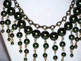 Olive Glass Pearl Necklace