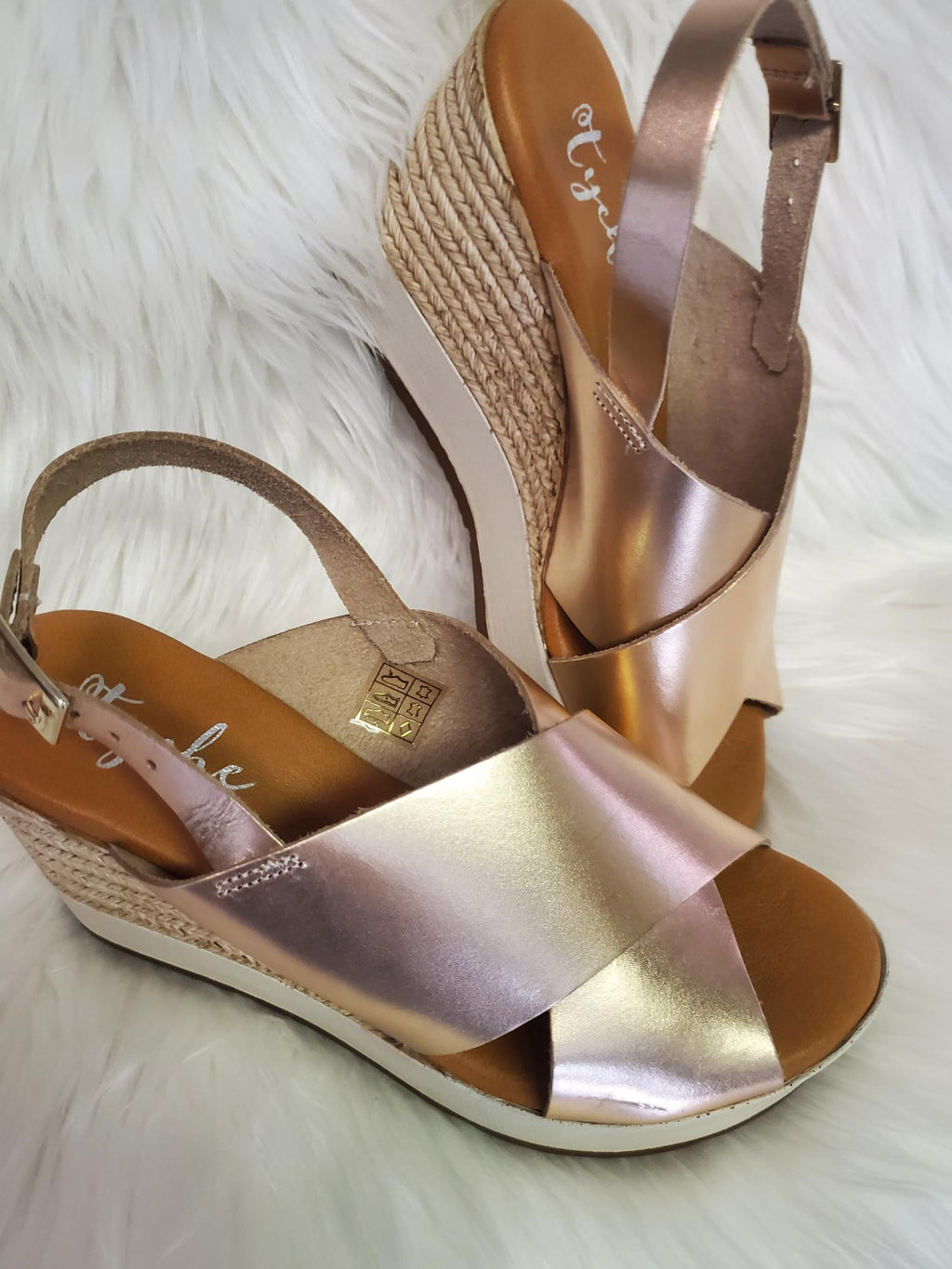 Tyche Rose Gold Wedge Sandal