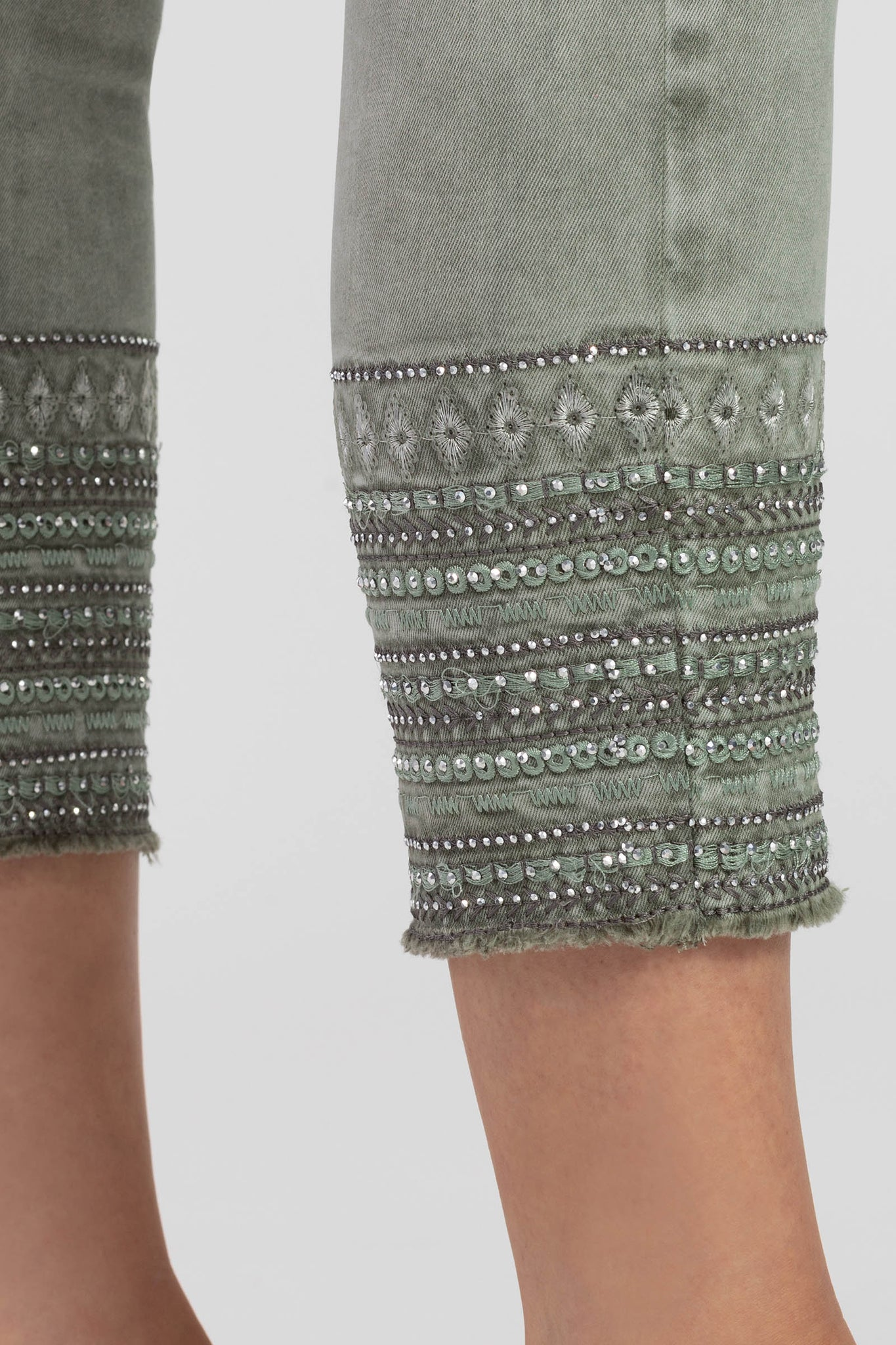 Tribal Pull-On Ankle Jegging w/ Embroidery at Hem