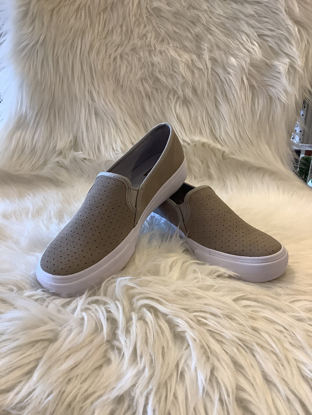 Ked's  Grey Double Decker Perforated Suede Slip On