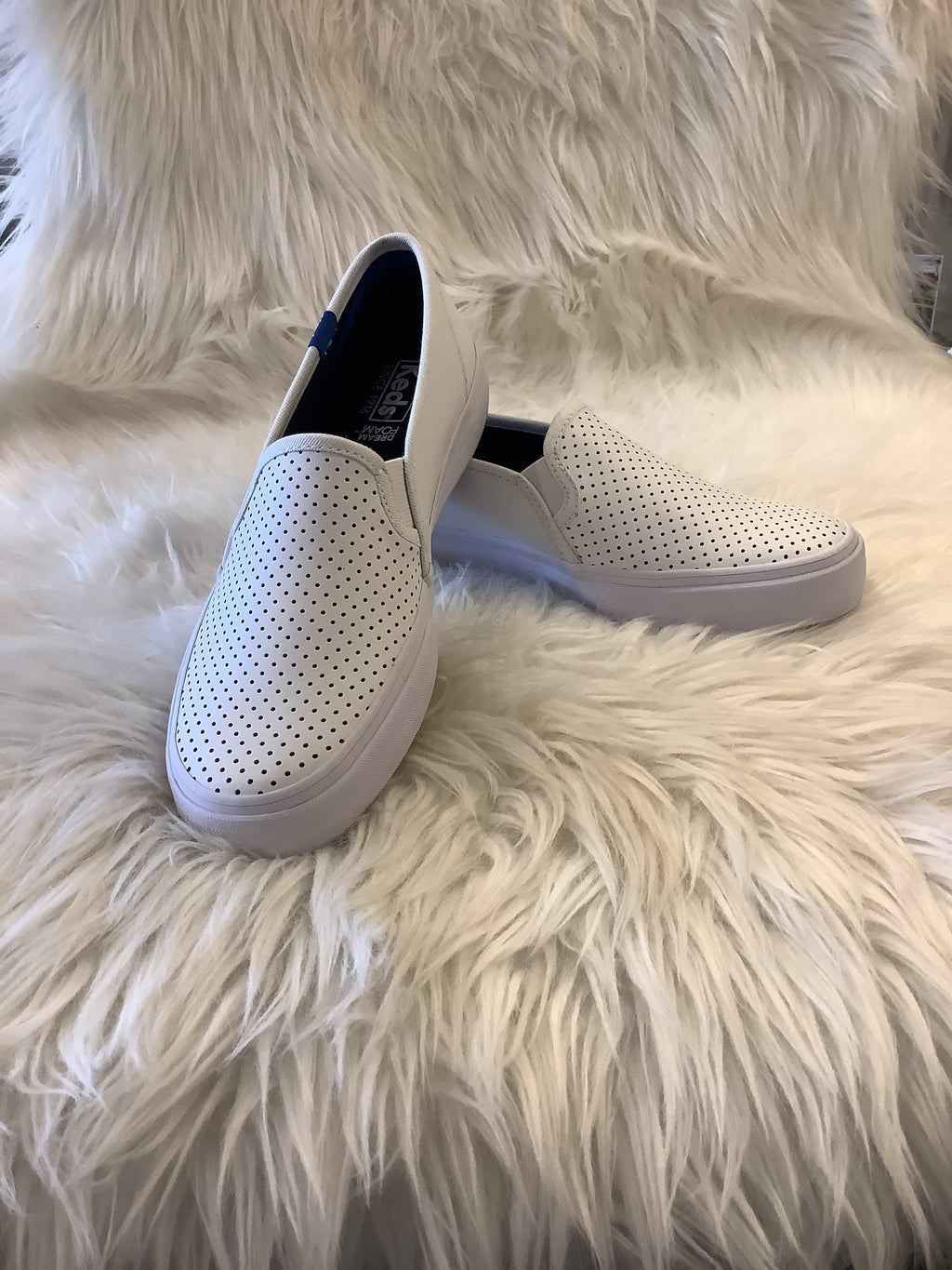 Ked's Double Decker White Perforated Leather Slip On