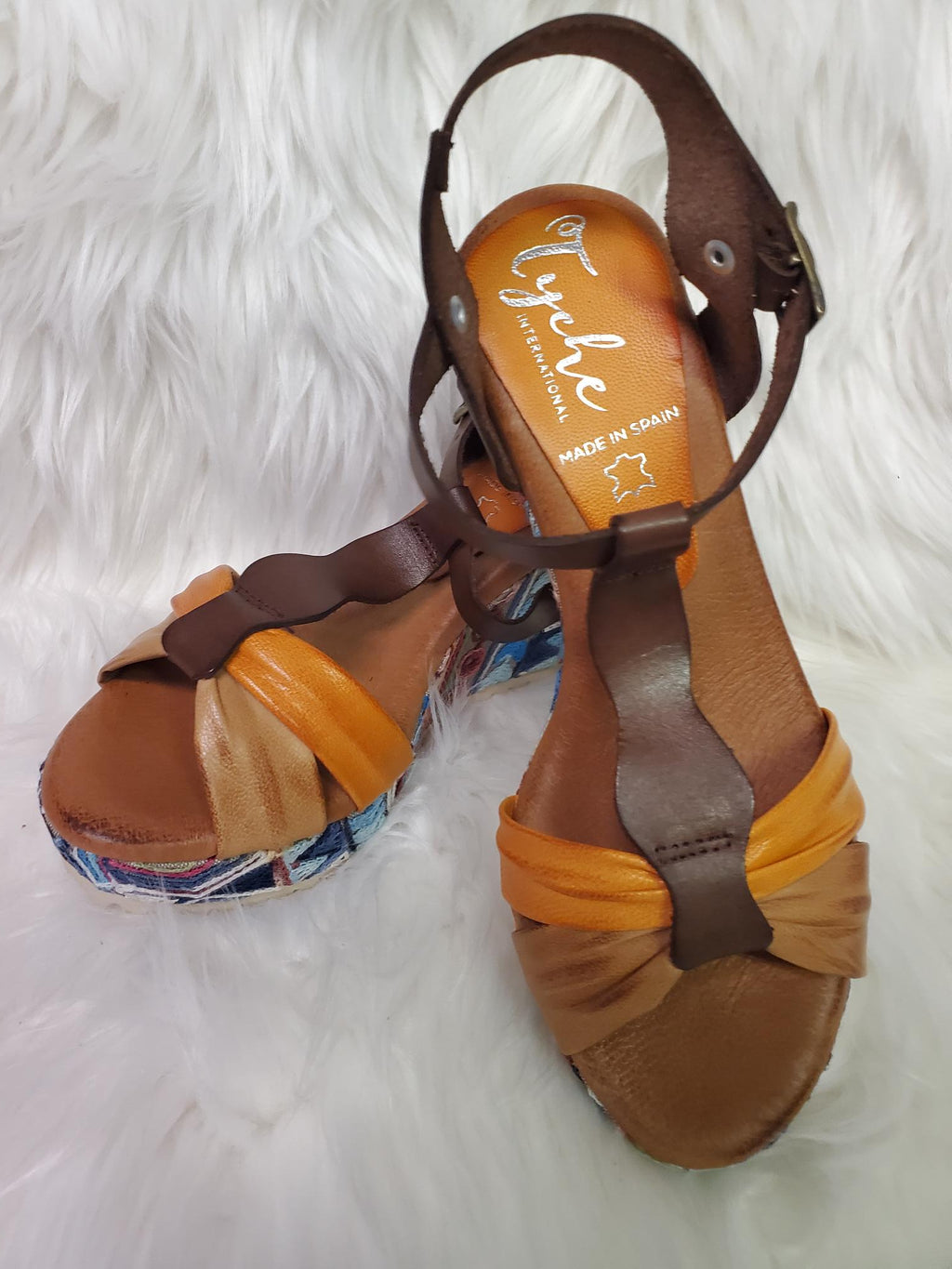 Tyche Cara Leather Wedge Sandal