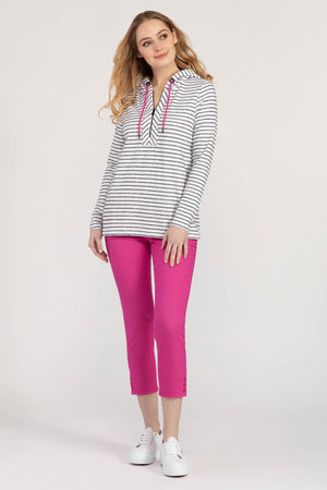 Tribal Striped Hooded Top