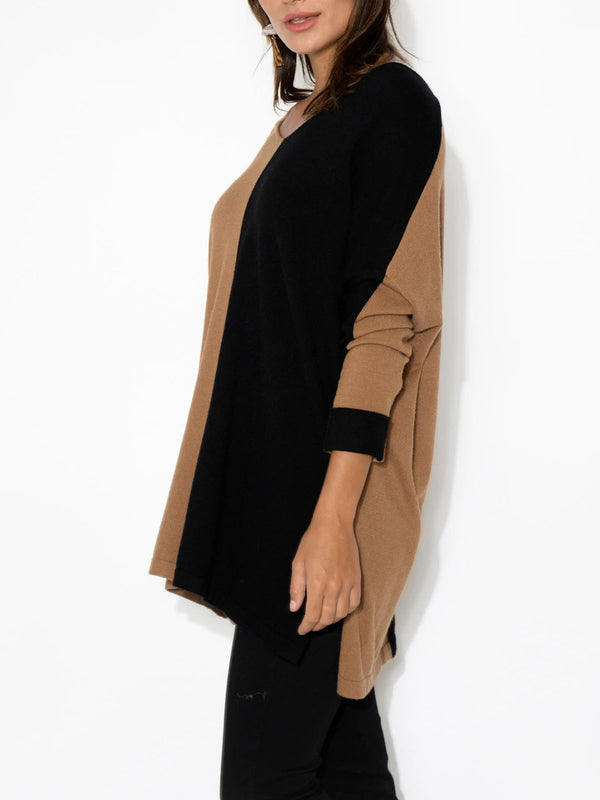 Colorblock woolen loose round neck pullover