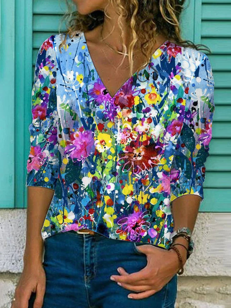 Printed Patchwork Long Sleeve Shirts & Tops