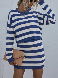 Striped Knited Round Neck Long Sleeve Sweater Suit