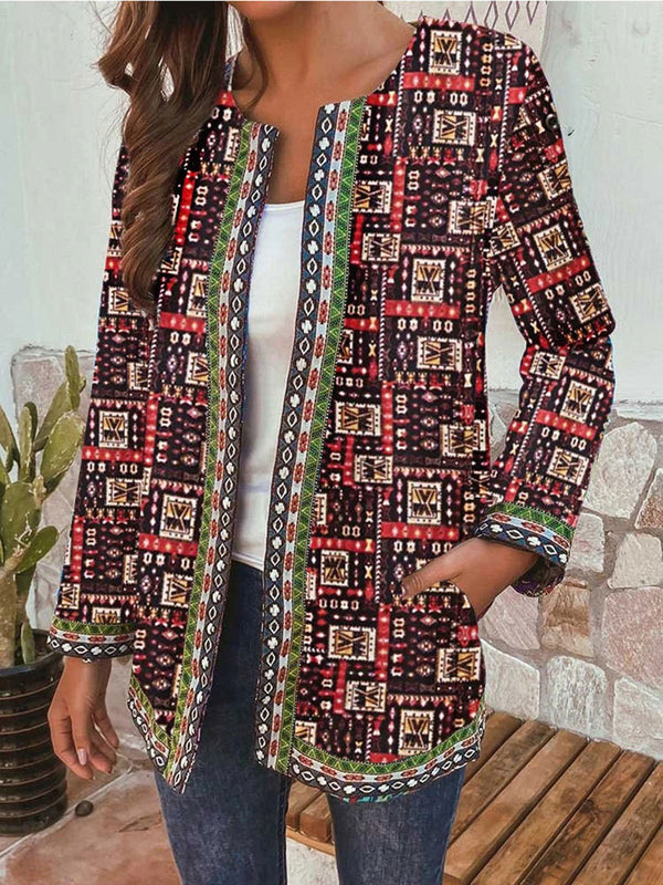 Vintage Print Loose Round Neck Casual Jacket Cardigan