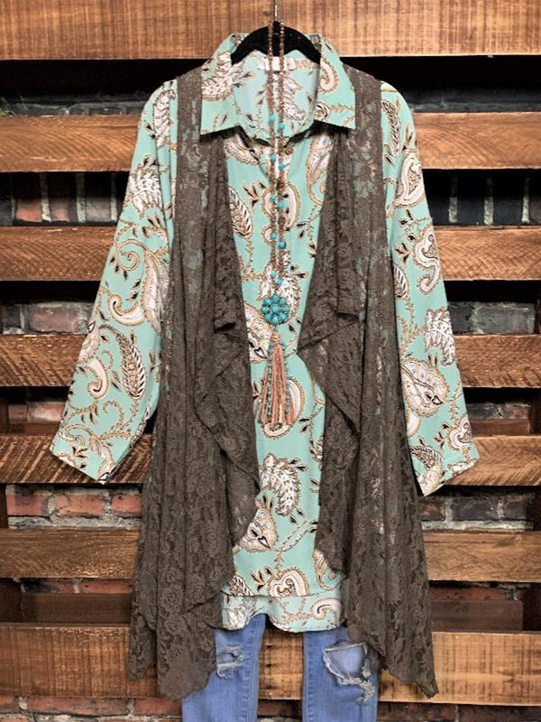 Paisley Print Loose Casual Pocket Shirt