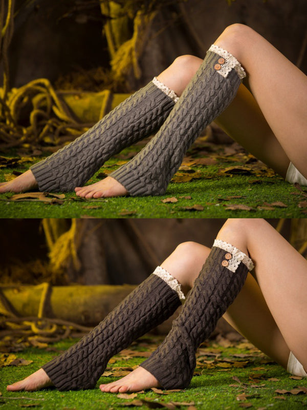 Casual Warm Plain Lace Knee-Socks