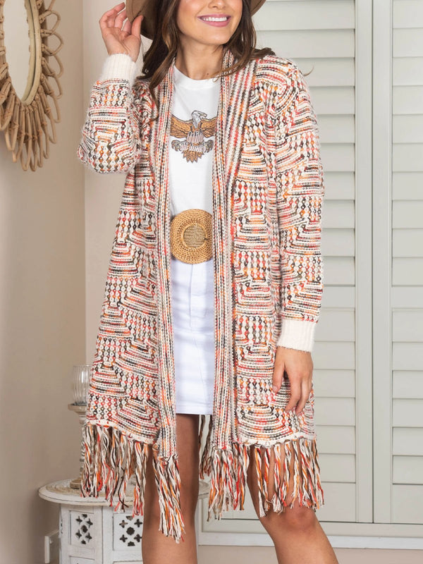 Pink boho holiday casual cardigan