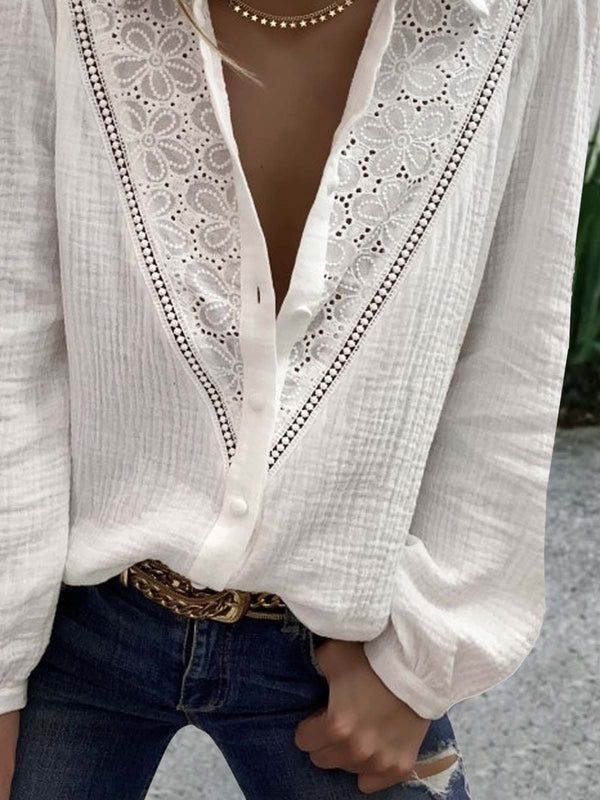 Long Sleeve Lace  Cotton-blend Shawl Collar  Casual  Winter  White Shirt