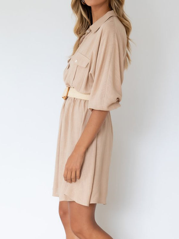 Half Sleeve Shift Casual Plain Dresses