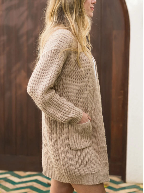 Retro casual pocket knitted sweater