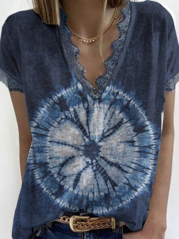 V Neck Ombre/tie-Dye Casual Shirts & Tops