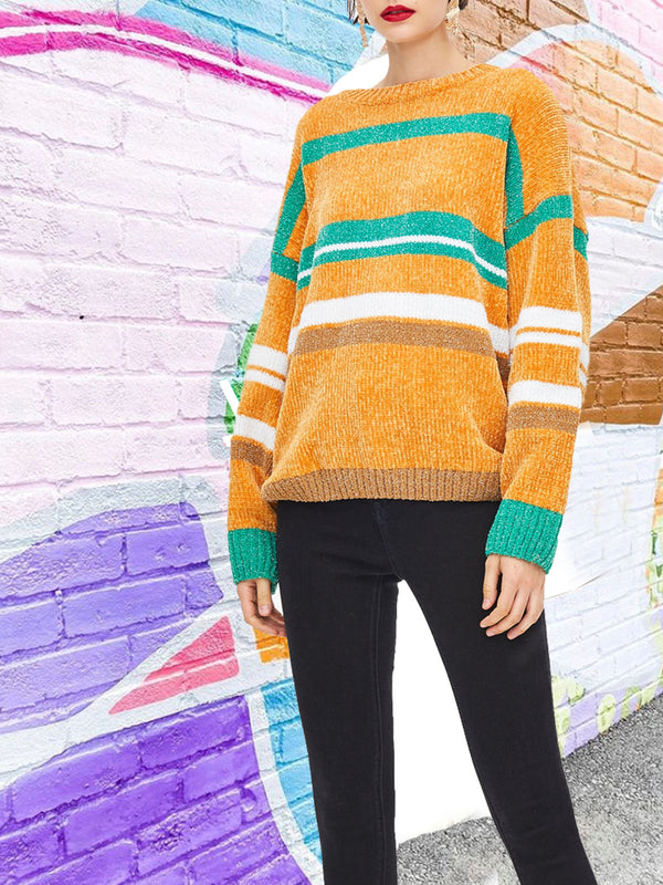Vibrant colorblock check knitted sweater