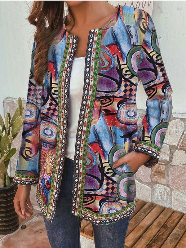 Vintage Print Round Neck Long Sleeve Jacket Cardigan