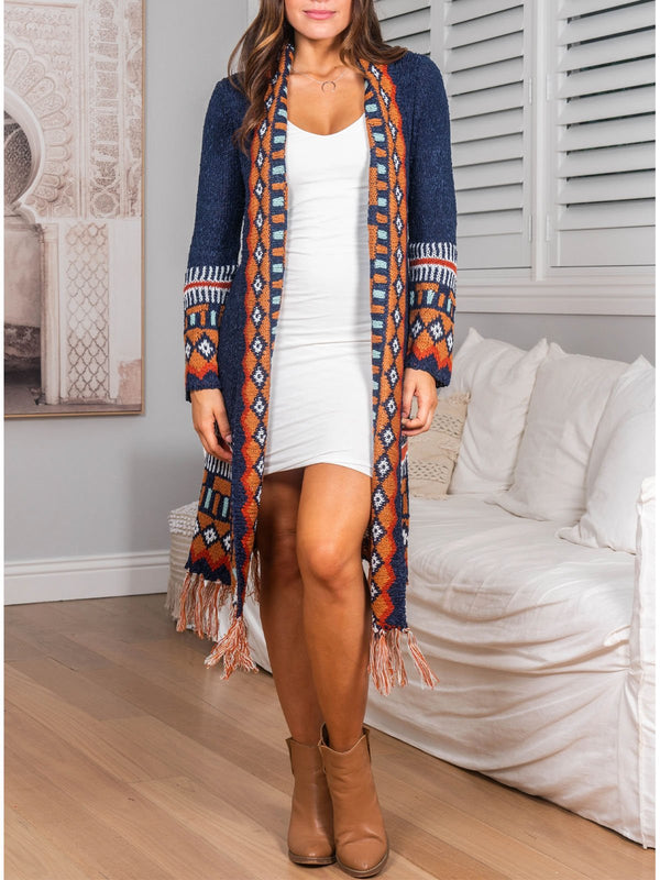 boho casual tassel open cardigan sweater