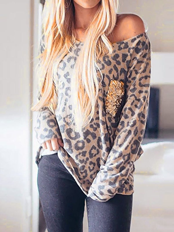 O-Neck Long Sleeves Leopard Print Sequins Splicing Blouse Tops