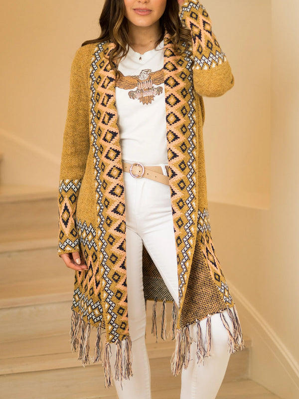 Mohair long fringed bohemian cardigan