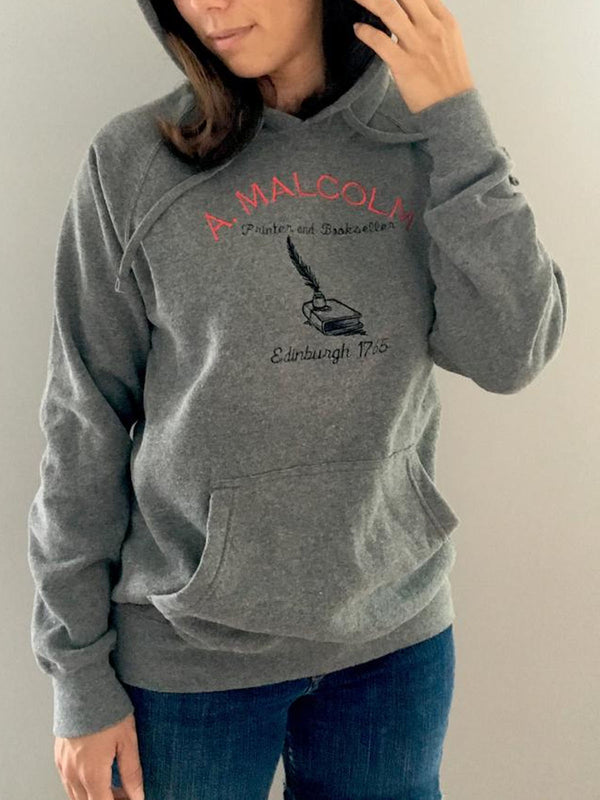 Contrast embroidered brushed hooded sweatshirt