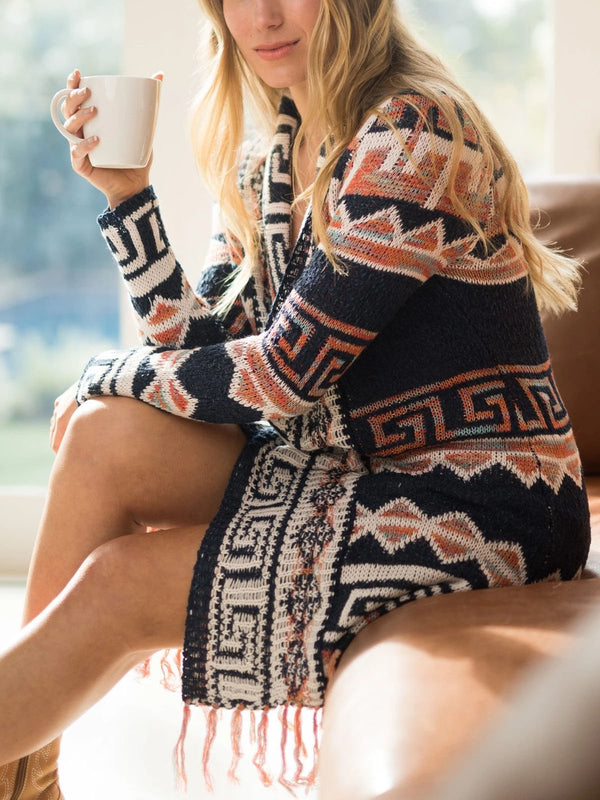 boho cardigan fringed long sweater