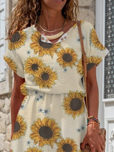 Sunflower Print V-Neck Linen-Blend Blouson Midi Dress