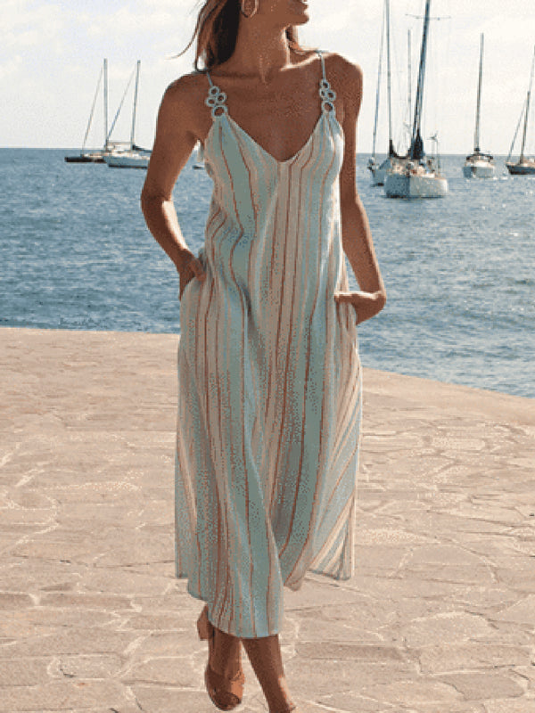 Spaghetti-Strap Striped V-Neck Holiday Striped Sundress