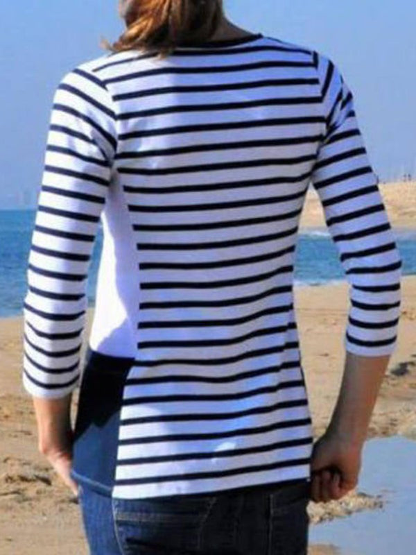 Stripe Round Neck T-shirt Side Sewing Pocket Tops