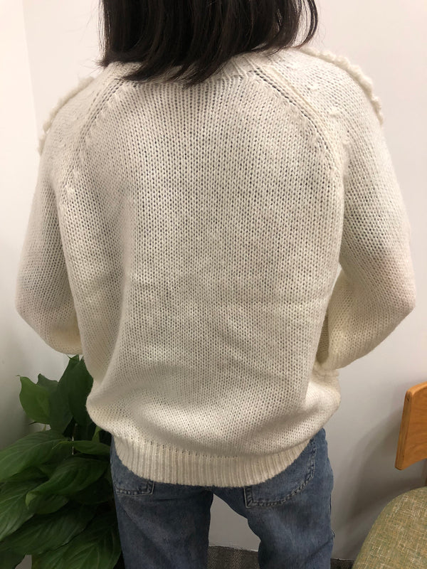 White Long Sleeve Solid Crew Neck Knitted Sweater