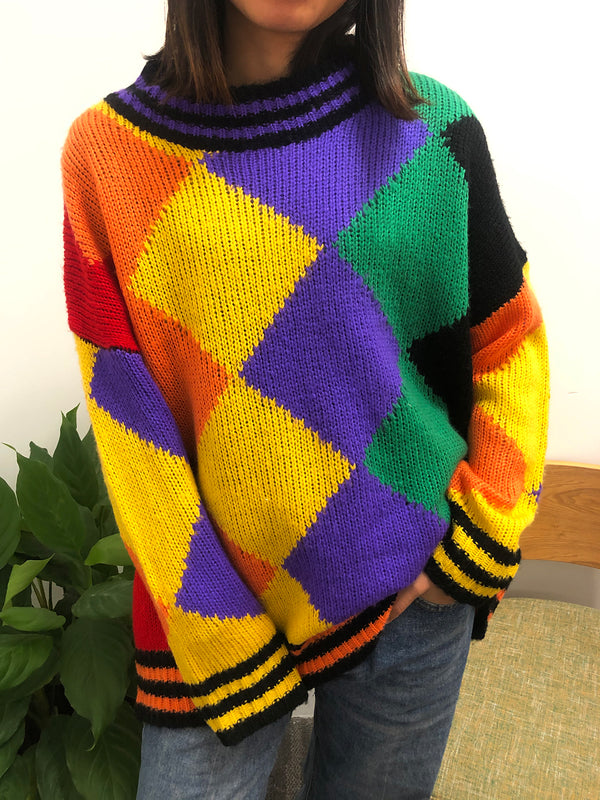 Multicolor Long Sleeve Geometric Crew Neck Sweater
