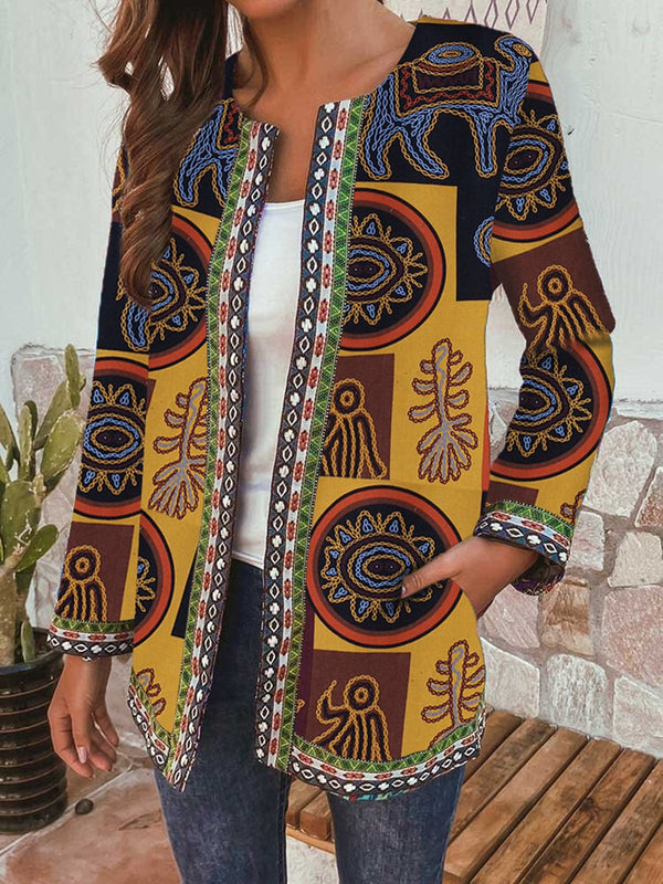 Vintage Cotton Linen Printed Loose Long-sleeved Jacket Cardigan