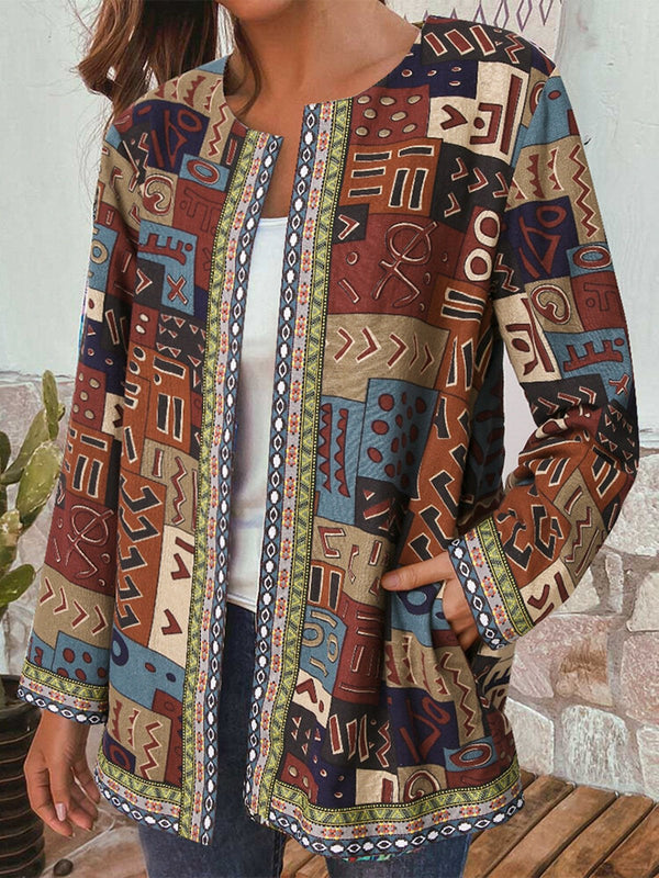 Vintage Printed Loose Long-sleeved Jacket Cardigan