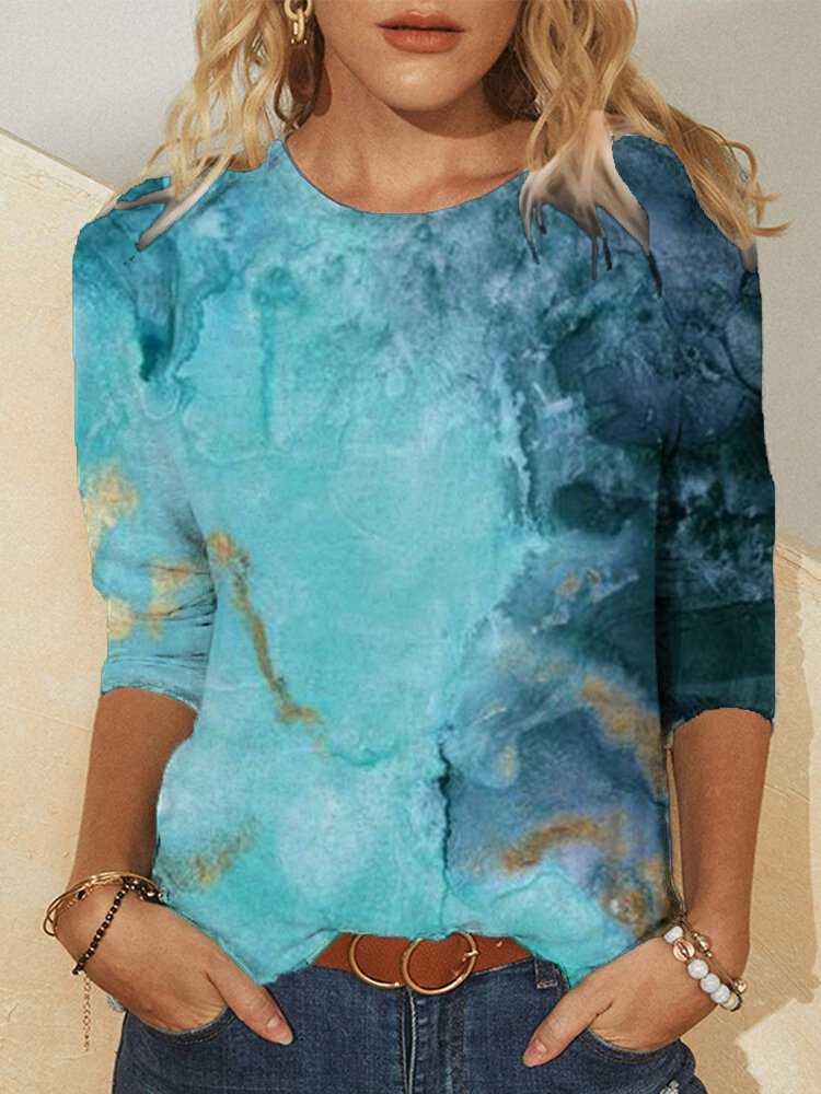 Printed Long Sleeve Crew Neck Casual Shirts & Tops