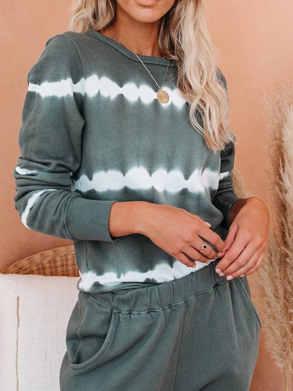 Gray Ombre/tie-Dye Crew Neck Long Sleeve Shirts & Tops