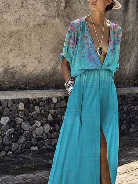 Ombre/tie-Dye Holiday Short Sleeve V Neck Dresses