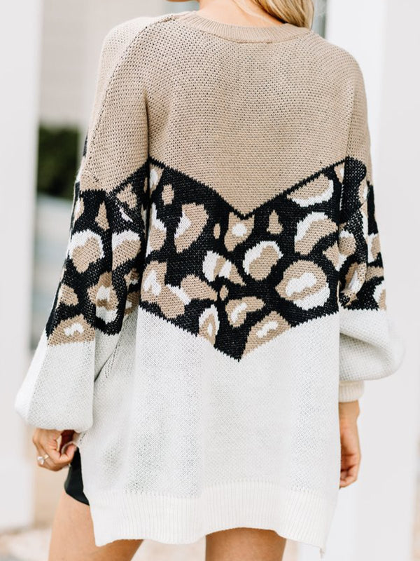 Leopard Casual Leopard Shift Crew Neck Sweater